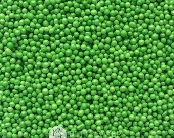 Green Glimmer Non Pareils, 100s and 1000s, Hundreds and Thousands Sugar Sprinkles, Cupcake or Cake Decorations