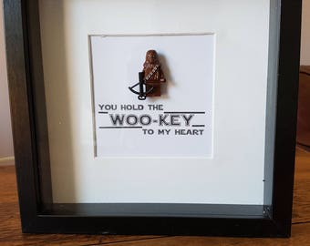 Shadow Box Frame//Star Wars//Chewbacca//Minifigures//Personalise//Geek//Love//Gift/Father/Daddy/Fathers Day/Birthday/Mothers Day/Anniversary