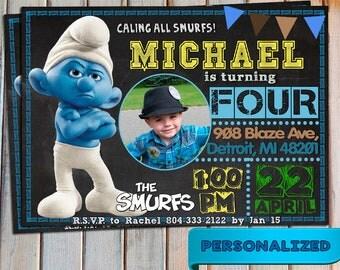 SALE The Smurfs Invitation, The Smurfs Invite,  Smurfs Birtfday, The Smurfs new 2017, Personalized, Printable, Digital, Thank you card free