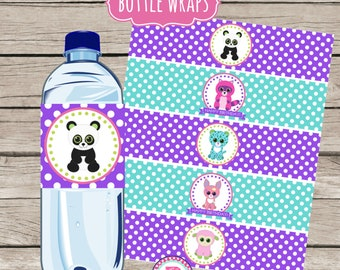 10 Water Bottle Drink Wraps Labels Adopt A Pet Birthday Party Printable Pet Adoption Party Instant Download Stuffed Animals Puppy Bear Cat