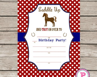 Horse Party Fill In the Blank style Birthday Party Invitation Instant Download Farm Horseback Riding Saddle Up Red Navy 5x7 Pony