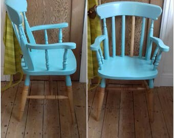 Armchair - solid pine armchair - teal blue wooden chair - spindle back chair - accent chair - contemporary wooden chair - painted chair