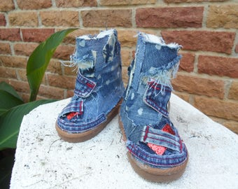 Custom denim design boots upcycled distressed denim, blue jean with red accents Toddler Size 6