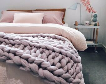 Lilac 100% Australian Merino Wool - Ribbing Stitch Throw | Blanket