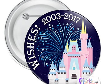 "Wishes Button - 3"" Disney Park Button"