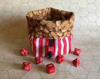 Peanut Tabletop Drawstring Gaming Dice Bag Pouch Dungeons and Dragons Dnd Role-Playing Board Game Miniatures Polyhedral Dice Rpg