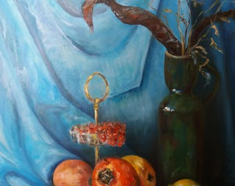 "still life ""fruit in a vase"", persimmon,lemon,Apple"