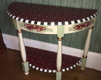 Whimsical Hand Painted Half Moon Table Console