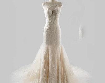 Size 8 Lace Mermaid Wedding Dress, Illusion Back Wedding Dress, Ivory Mermaid Wedding Dress, BERTA BRIDAL INSPIRED Beaded Wedding Dress,