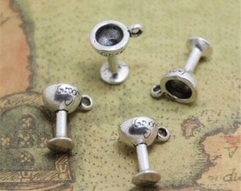 25pcs Groom Goblet Charms Silver Toasting Groom Goblet Charm pendants 14 x 12mm ASD0559