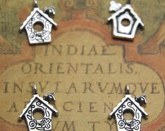 15pcs Bird House Charms Birdcage Pendants Silver Tone 14 x 20 mm ASD1341