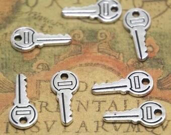 30pcs mini key charms silver tone key charms pendants 19X9mm ASD1768