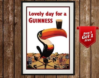 Guinness Print - Lovely day for a Guinness, Beer Poster,  Vintage Beer Print, Retro Beer, Guiness Poster, Vintage Guinness Poster, Home Bar