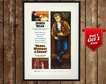 Rebel Without A Cause Movie Poster - Vintage Movie Print, James Dean Poster, Natalie Wood, Movie Poster, Rebel Without Cause, Movie Room