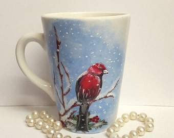 Hand painted mug, cappuccino mug, winter bird, snowflakes, gift for her, unique gift, ready to ship