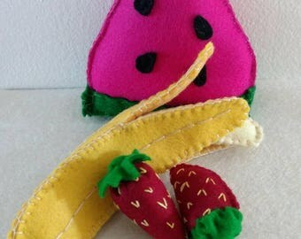 CUSTOM PLAYFOOD SET A- fruit/vegetables wool felt Waldorf inspired
