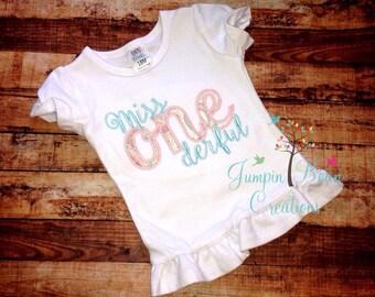 Miss onederful, first birthday, miss wonderful, girls 1st birthday shirt, girls first birthday