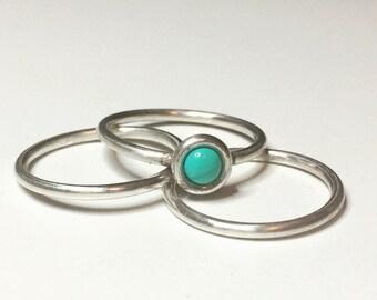 Turquoise Trio Rings