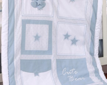 Blue Bear All Star Quilt - Baby Blanket