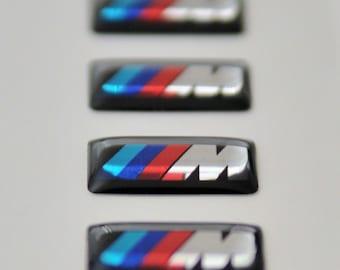 4xBMW m power badges for m sport alloy wheels Sticker/Emblem printed on chrome vynyl