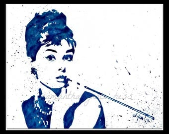 Audrey Hepburn Original Art Watercolour Painting, Wall Art, Poster, Breakfast at Tiffanys, Old Hollywood, Women's Gift