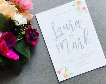 Rustic Floral Engagement Party Invitation - Grey Calligraphy  Script - Modern Engagement Invite