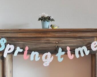 Garland pastel lettering springtime