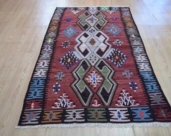 Vintage Kilim. Turkish kilim rug. Vintage rug. Free shipping. 6.7 x 3.6 feet.