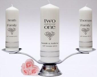 Wedding Unity Pillar Candle Set - Inscription Design. Fully Personalised & Handmade in UK.