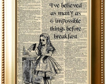 Impossible things. Drink me Alice in Wonderland poster. Alice quotes. Lewis Carroll quote print Vintage Prints