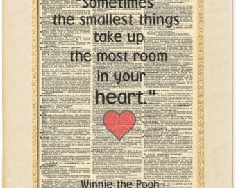 Winnie the pooh book quotes print. Winnie the pooh quote print. Heart love quote. Vintage print.