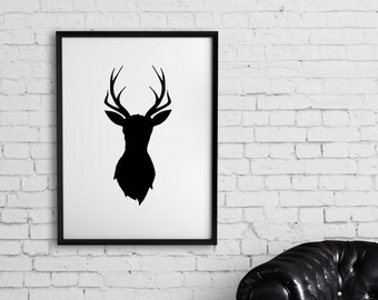 Deer Silhouette Wall Art, 8x10, black & white silhouette wall art, deer artwork, deer art, silhouette artwork, silhouette of a deer artwork