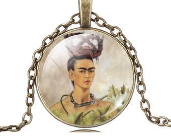 Frida Kahlo Trenza Frida necklace pendant cabochon glass image of Frida