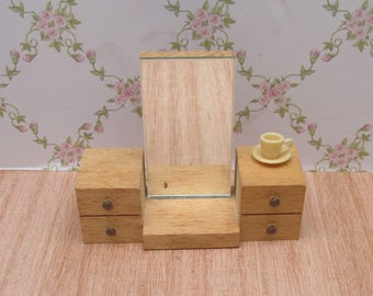 Vintage Wooden Dolls House Miniature Shapely Dressing Table with Mirror
