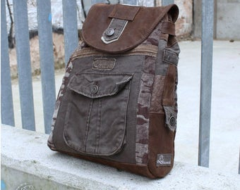 Backpack CAMOUFLAGE, leather, corduroy, denim, Upcycling