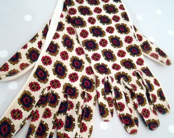 Vintage Paisley white patterned gloves Red Brown