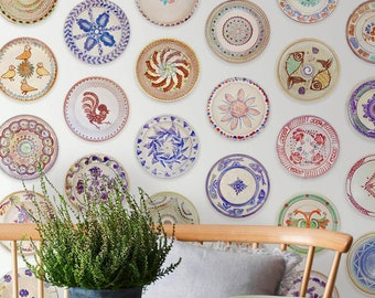 Boho Self Adhesive Removable Wallpaper, Rustic Removable Wallpaper, Boho Plates Adhesive Wallpaper, Dining Wall Mural Removable
