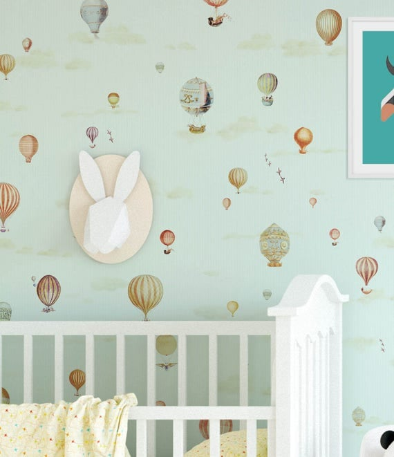 hot air balloons nursery wallpaper dreamy balloon wall paper nursery wallpaper kids wallpaper self adhesive decor