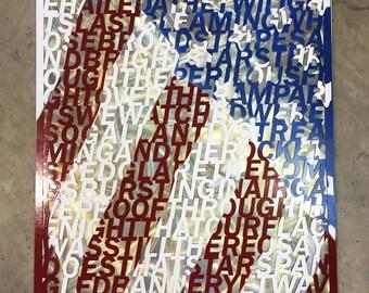 Star Spangled Banner Laser Cut Poster - Galvanized Steel