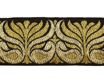 Metallic Gold And Black Ribbon Trim, Floral Embroidery Design, Sewing Crafts Border Lace Trim 2 Inch Wide Ribbon By The Yard RT1696A