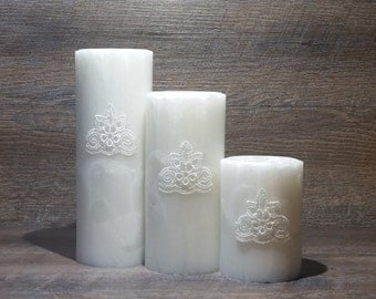 CocoPalm Embellished Pillars - Crystal, Home Decor Candle