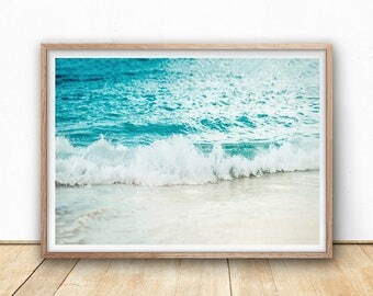 Ocean Print - Wave Art Print, Digital Print, Printable Wall Art, Surf Beach, Sea Wall Art, Beach Decor, Beach Home, Coastal Photography