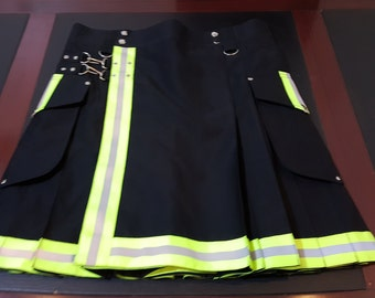 Black Firefighter CARGO KILT Custom Size Available Color Brown Blue Red Green White