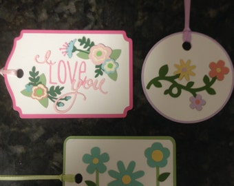 Crafty Tags by Kristin 3D Dimensional Layered Flowers Love Spring Garden Gift Tag Assortment Pack of 3
