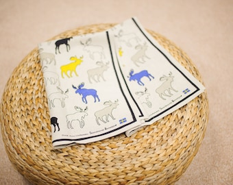 Linen kitchen tea towel / colorful elk