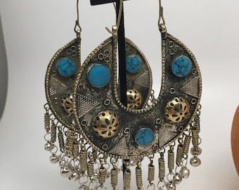Statement Kuchi earrings - Vintage Kuchi turquoise afghani earrings, Turkmen boho gypsy Rajasthani afghani bollywood earrings