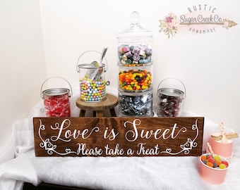 Love is Sweet, Please Take a Treat Wedding Sign, Rustic Wedding Sign, Sweets Sign, Fun Wedding Signs, Party Sign, Treat Table Sign, Sign