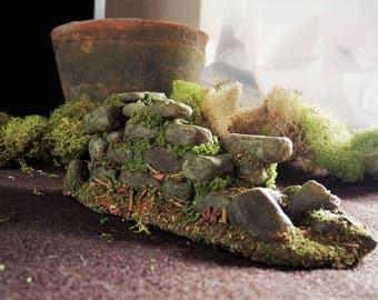 Old Ruins - Rustic Stone Wall Miniature - Terrarium Decor - Potted Plant Decor