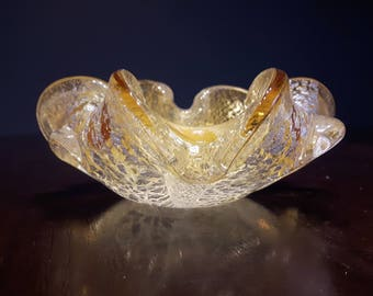 Art Glass Bowl Speckled Gold & White with Pinched Edges