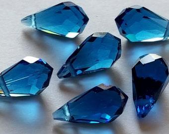 13mm x 6.5mm sapphire blue teardrop glass bead  6 beads